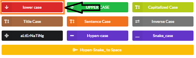 Easy Case Converter - Lowercase Button