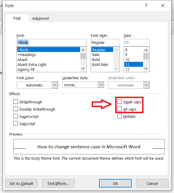 Easy Case Converter - Font Options Dialog in MS Word